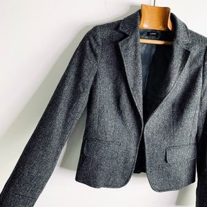 J. CREW wool charcoal gray tweed blazer jacket 4